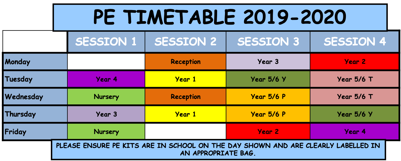 PE Timetable 2019/2020
